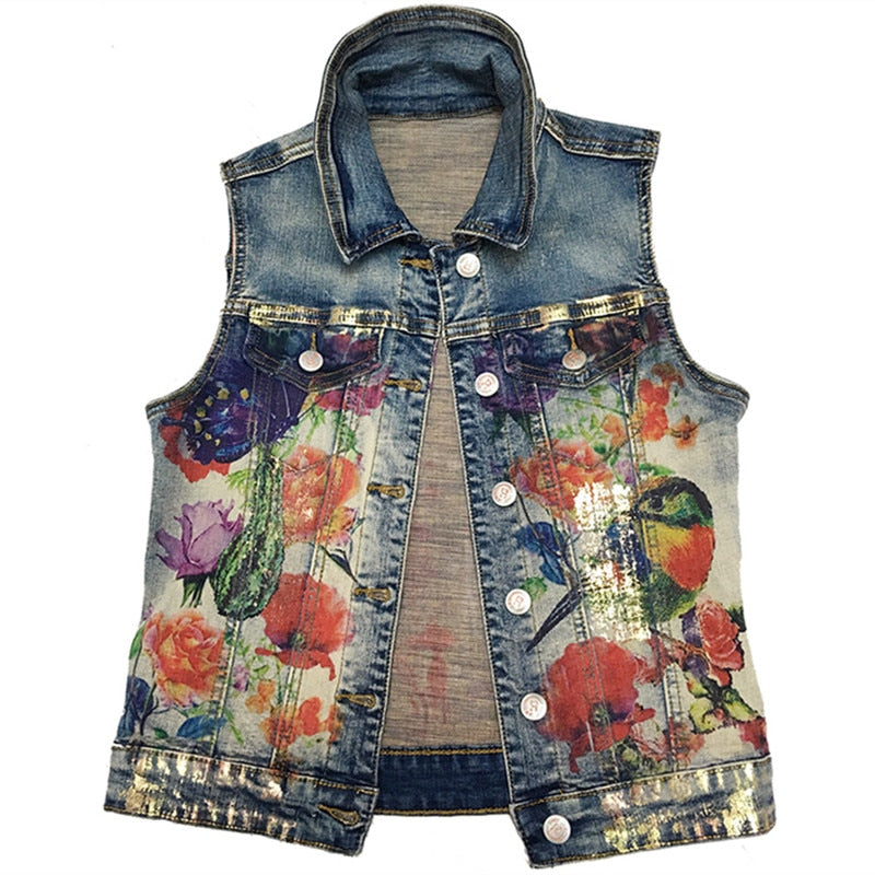 Women Basic Coats 2018 New Boyfriend Style Printed Casual Vintage Jacket Women Sleeveless Coat Jackets Women's Tops