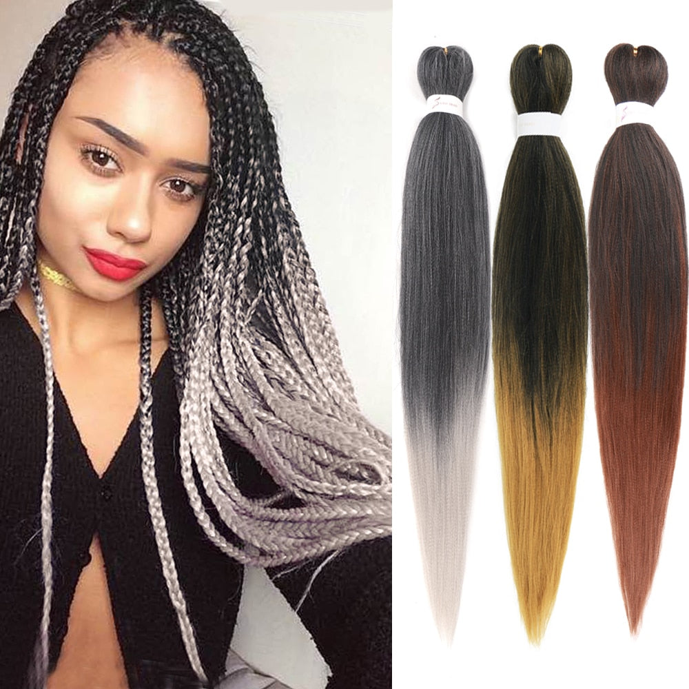 EM AfriNOVA Braiding Hair Pre-stretched Hair | Ombre Color Synthetic Jumbo Braids Hair