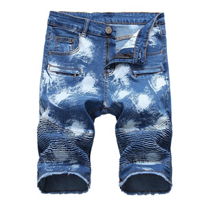 Painted Ripped Jeans Shorts