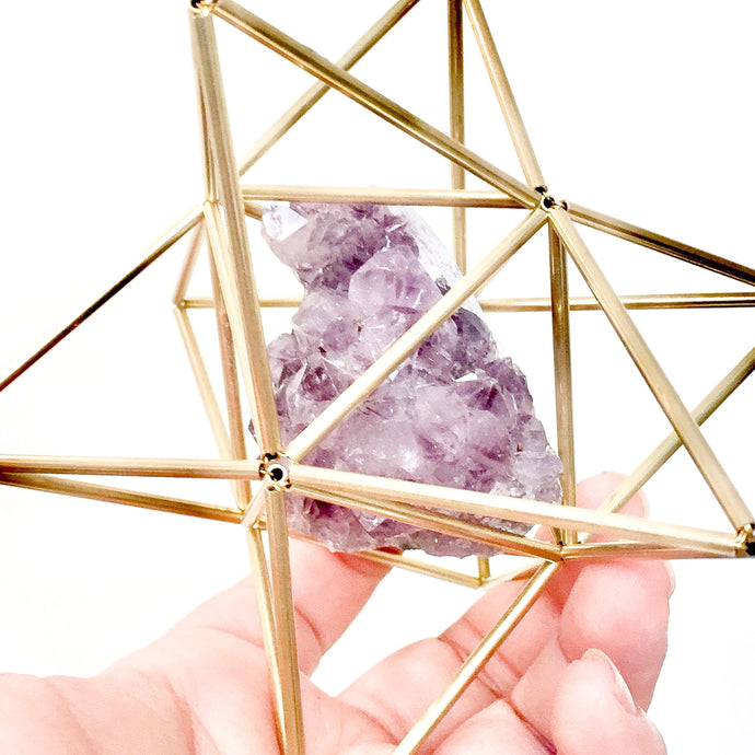 Star Tetrahedron with Amethyst