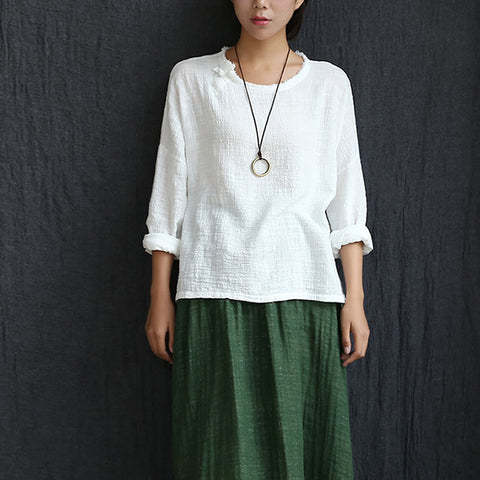 Long Sleeve O-neck Linen Blouses Women Chinese style Loose Casual Shirt