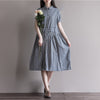 Casual Fashion Plaid Loose Linen Dress
