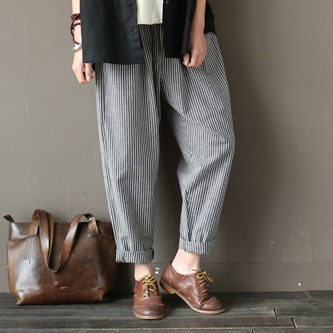 Gray Linen Cotton Striped Loose Casual Women Harem Pants