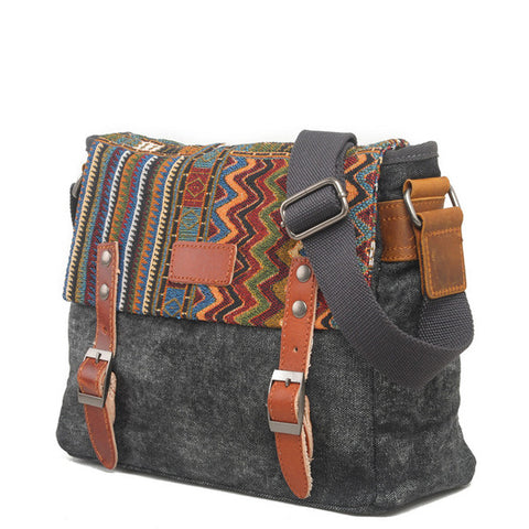 Vintage Ethnic Canvas Messenger Bag Women Chinese Style