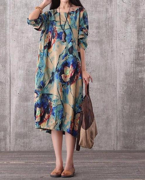 Casual Loose Floral Print Blue Dress