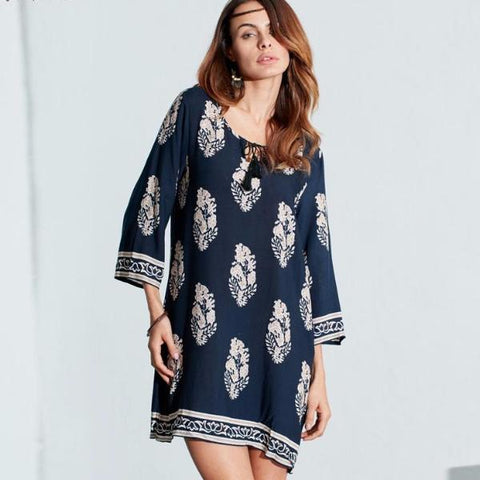 Elegant Bohemian Retro Mini Dress with Print