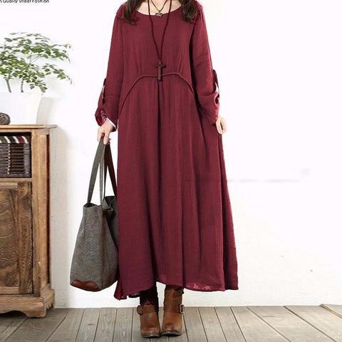 Oversized Retro Wine Red Long Dress