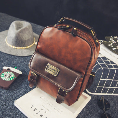 Women Leather Vintage Retro Backpack