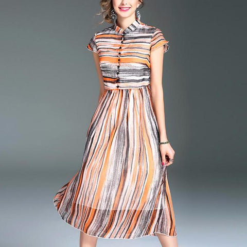 Vintage Stripe Print Beautiful Tank Dress