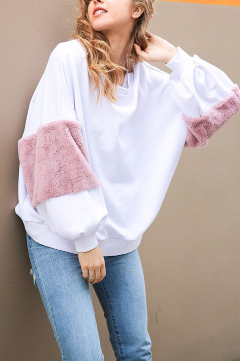 Casual Oversize White Women Jumper Long Sleeve Pullover