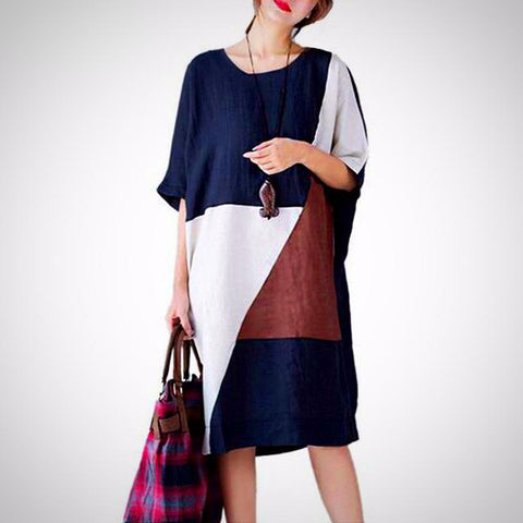 Patchwork Casual Fashion O Neck Short Sleeve Loose Midi Dress