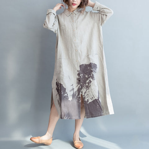 Long Sleeve Dress Vintage Print
