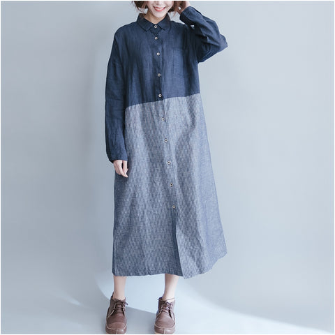 Summer Casual Linen Dress  Long Sleeve