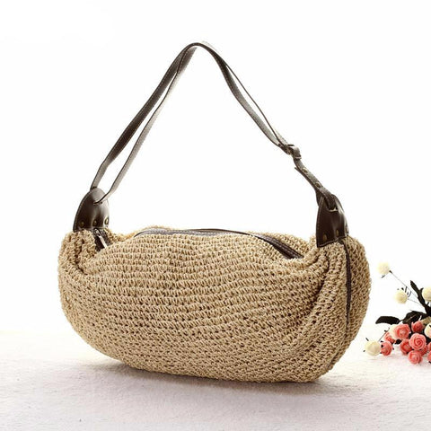 Handmade Straw Bag Shoulder Inclined Across Woven Bag