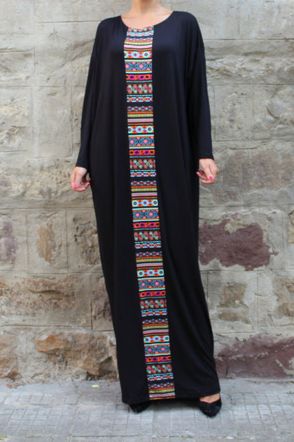 Casual Maxi Dress Robe with Ethnic Print