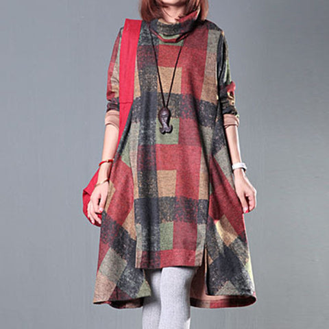 Asymmetrical Winter Dress Plaid Pattern