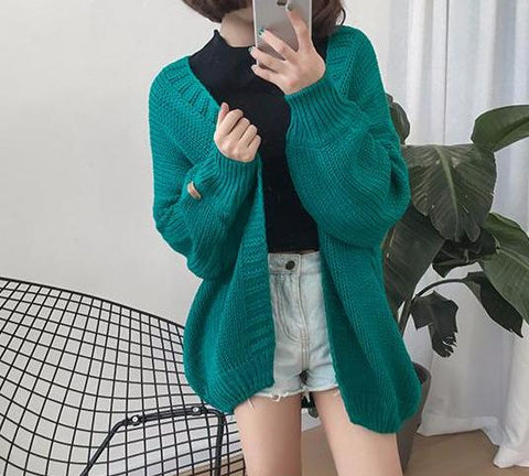 Winter Solid Color Knitted Cardigan Sweater