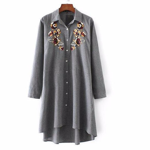 Women Vintage Flower Embroidery Long Shirt