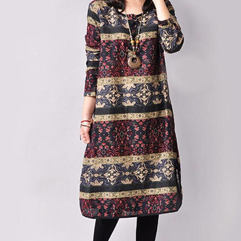 Vintage Ethnic Printed Dress
