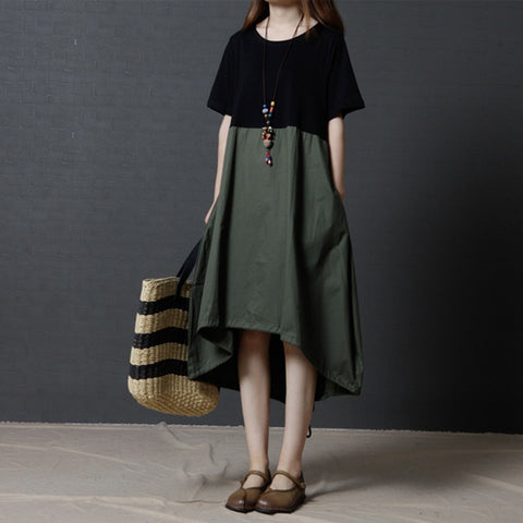 Fashion Stitching Color  Women  Short Sleeves Dress