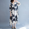 Vintage Casual Loose Short Sleeve Maxi Plus Size Cotton Linen Dress