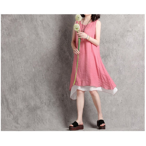 Elegant  Retro Linen Dress