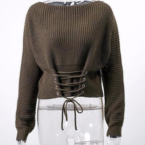 Elastic Knitted Pullover Sweater Long Sleeve