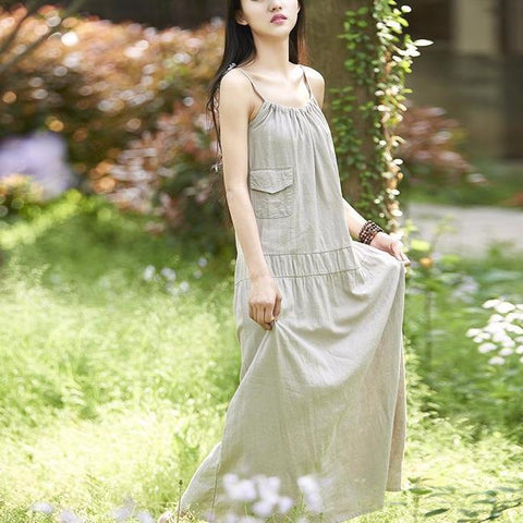 Solid Sleeveless Strap Vintage Dress