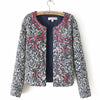 Retro Print Blue White Round Neck Full Sleeve Jacket