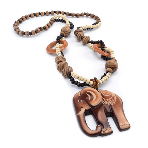 Hand Carved Elephant Woody Pendant Necklace
