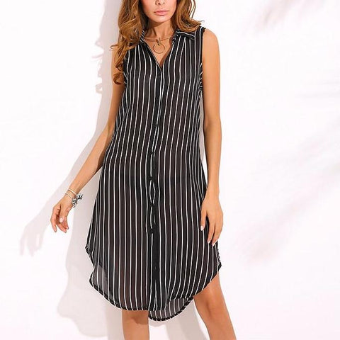 Autumn Plus Size Stripe Print Dress