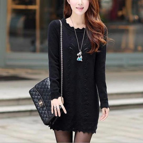 Winter Warm Knitted Sweater Mini Dress