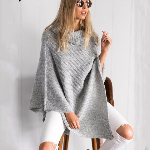 Vintage Cotton Turtleneck Sweater Knitting Poncho