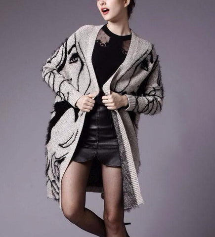 Fashion Women Long Sleeve Pattern Sweater Coat