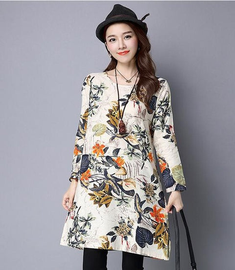 Autumn Long Sleeve Dress With Flora Print