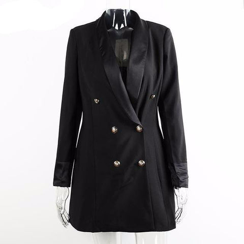Double Breasted Long Suit Blazer Coat Jacket
