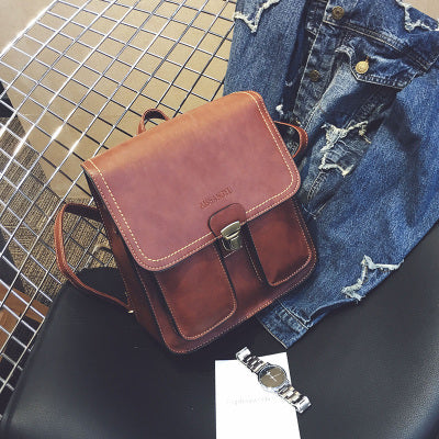 Leather Fashion Vintage Women Backpack
