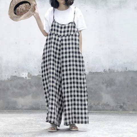 Women Wide Leg Cotton Linen Jumpsuits