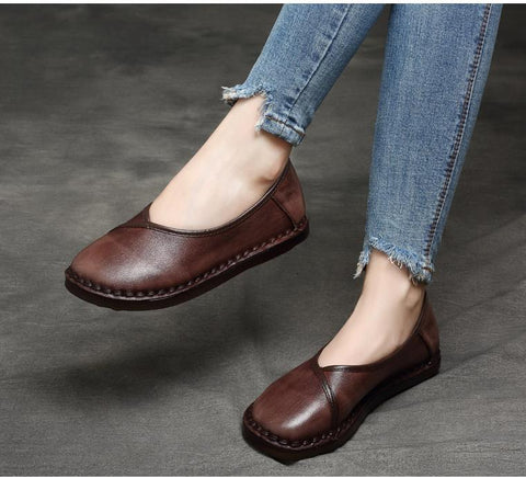 Retro Handmade Women Genuine Leather Shoes Casual Style