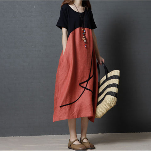 Patchwork Short Sleeve Casual Dress
