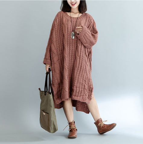 Knitted Cotton Street Striped Fashion European Sweeter Dress
