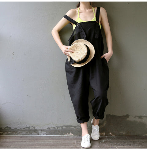 Casual Black Cotton Linen Rompers Jumpsuits