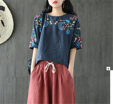 Summer Vintage Handcraft Embroidery Women Shirt