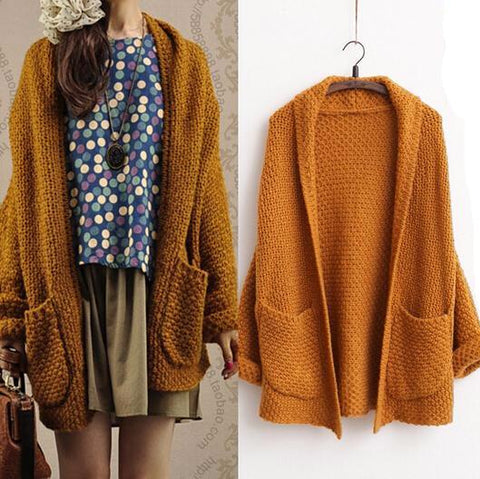 Women Long Knit Cardigan Art Retro Sweeter