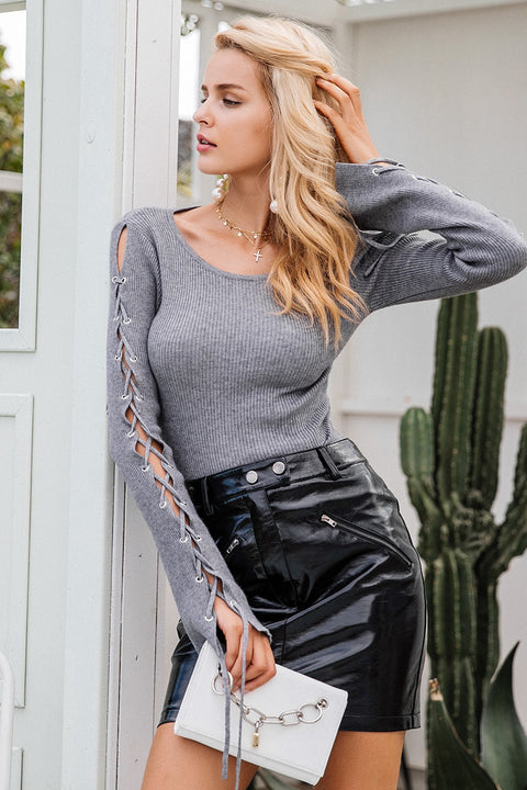 Sexy Lace Up Knitting Fashion Pullover