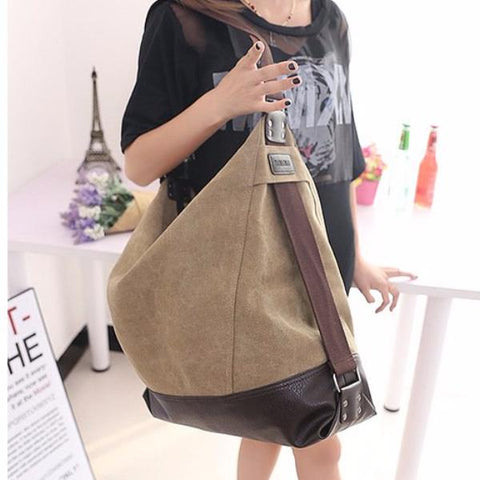 Fashion Patchwork Women Canvas And Leather Handbag