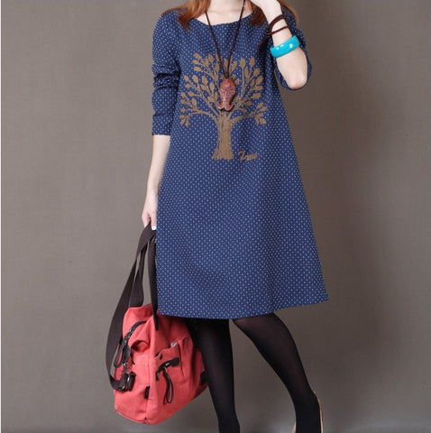 Vintage Embroidery Long Sleeve Cotton Dress