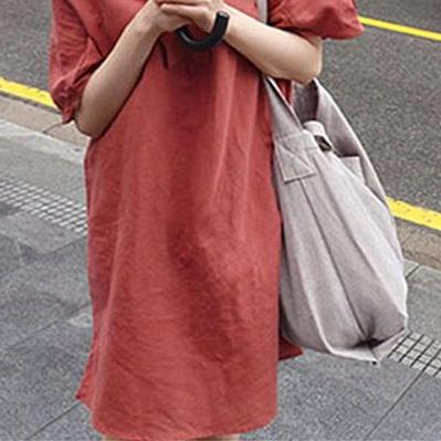 Fashion Short Sleeve Red Loose Dress