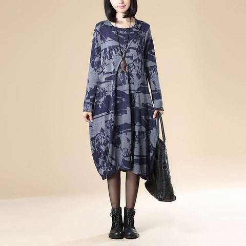 Retro Midi Long Sleeve Oversize Casual Dress