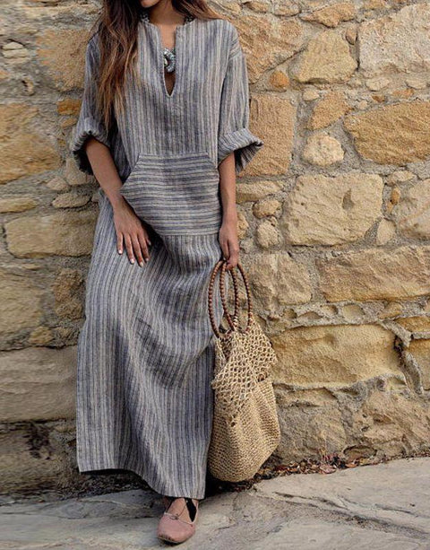 Vintage Casual Striped Gray Maxi Dress
